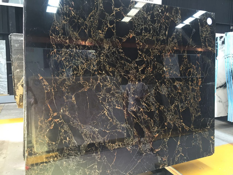 Athens Black and Gold Flower Marble