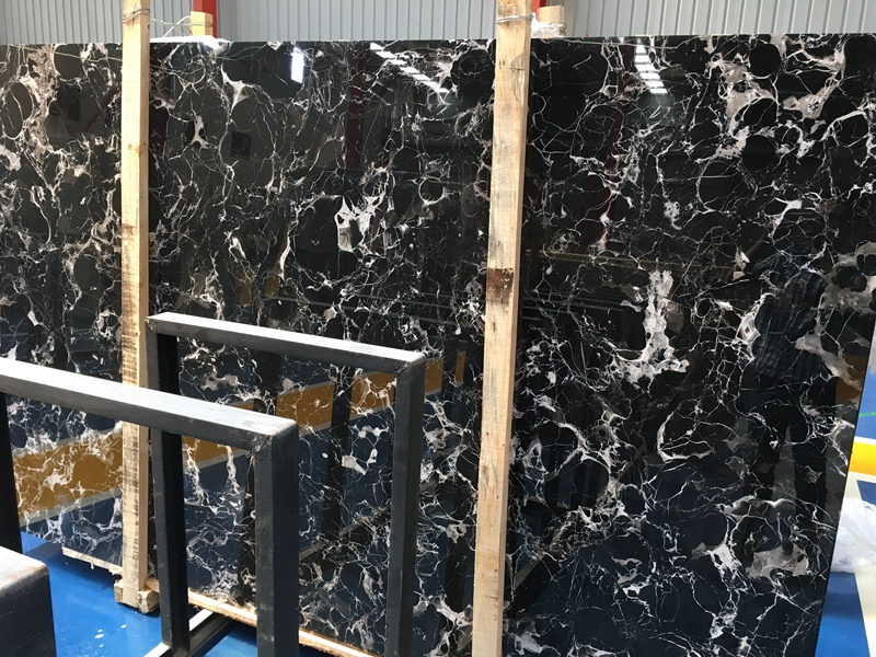 Century Black Ice Marble Slabs