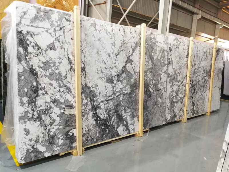 Winter River Snow Marble Slabs