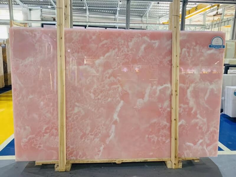 Backlit Rose Pink Onyx Countertops