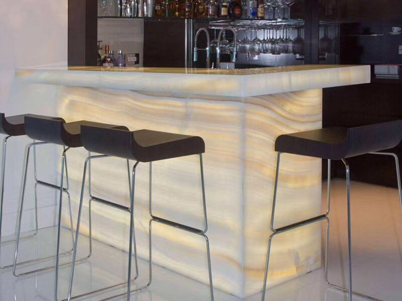 Lighted Onyx Stone Bar Tops