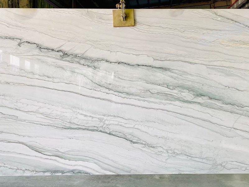 white pearl quartzite kitchen countertops